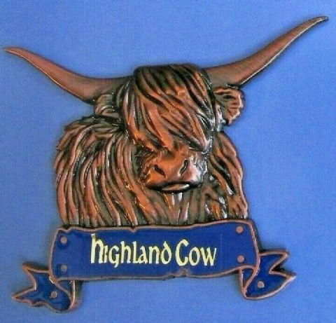 HIGHLAND COW FRIDGE MAGNET HEAVY DUTY METAL 3D MAGNET IN BRONZE ANTIQUE STYLE